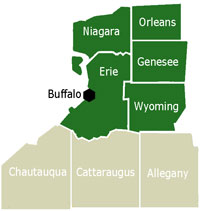 Western New York Counties, With Buffalo-Niagara Region In Green